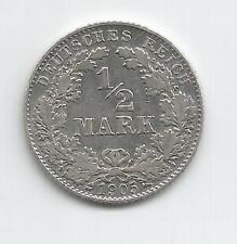 28M) GERMANY 1/2 MARK 1905D - SILVER 0,900 - XF/EBC