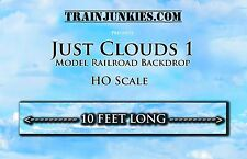 "TrainJunkies HO Scale  ""JUST CLOUDS"" Model Railroad Backdrop 120""X18"""
