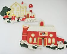Homco Country Farm House and Barn Plastic Wall Hanging 1975 Set of 2