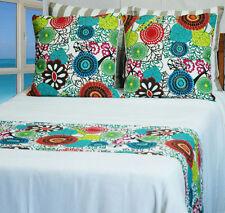 Queen/King Bed Runner Cover Africa Multi Colour Blue Green Aqua Bedding Quilt