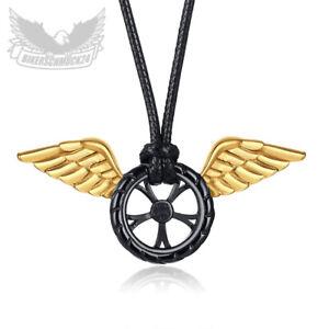 Rad mit Flügel schwarz gold Edelstahl Anhänger Reifen Halskette Bikerschmuck NEU