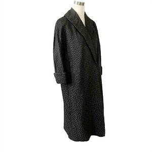 Crayson Model All Weather Black Brocade Coat Size Medium to Large Vintage 1940s
