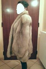 LARGE WARM REAL WHITE ARCTIC FOX FUR 3/4 LENGTH FULL PELT COAT / JACKET