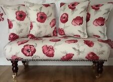 Long Footstool Stool & 4 Cushions Laura Ashley Freshford Poppy Fabric