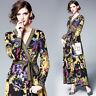 2020 Summer Fall Runway Floral Print V Neck Sashes Long Sleeve Women Wrap Dress