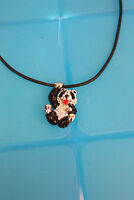 Butler and Wilson Crystal & Enamel Panda Hanging From a cord necklace
