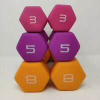 CAP Neoprene Dumbbells SET of 8lb 5lb 3lb pairs weights fitness gear