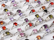 wholesale lots 5pcs 100% Zirconia Engagement Wedding Silver Plated Rings FREE