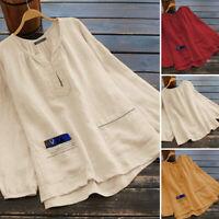 ZANZEA 8-24 Women Plus Size Long Sleeve Top Shirt Tee Basic Plain Ladies T-Shirt