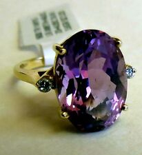 Large Oval 6 ct Amethyst & .05 tcw Diamond RING Solid 14K Yellow Gold Size 3.25