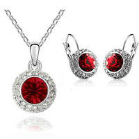 Silver Round Red Jewellery Set Circle Earrings Necklace with Pendant S236