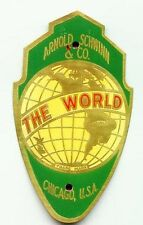001A Schwinn world Brass Bicycle Head tube Badge