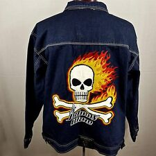 Johnny Blaze NYC Men's XL Denim Jean Jacket Embroidered Skull Crossbones Flames