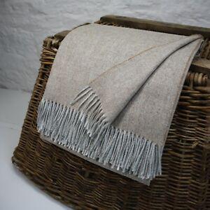 Sand Herringbone 100% Wool British Made Tweed Fabric Blanket Throw *Not Harris