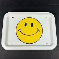 Vintage Metal TV Lap Tray Folding Legs Happy Smiling Face White Yellow