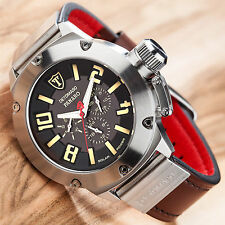 DETOMASO Panaro Mens Watch Solar Stainless Steel Multifunction Brown Leather New