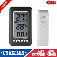 Wireless Digital Indoor Outdoor Thermometer Clock LCD Temperature Meter US Q3D2