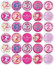 2nd Second Birthday Girl Cupcake Toppers Pink Edible Paper BUY 2 GET 3RD FREE!