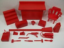 1973 IDEAL EVEL KNIEVEL SCRAMBLE VAN ACCESSORIES RARE VINTAGE RED TOOL PARTS LOT