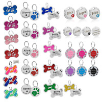 Bone/Paw Dog Tags Personsalised Engraved Disc Disk Cat Pet Name Collar Tag&Bell