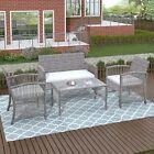 Us 4pcs Outdoor Patio Rattan Furniture Set Chair & Table Garden Backyard Porch