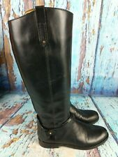 Tory Burch Black Leather Tall Side Zip Riding Boots Women's Size 8 M