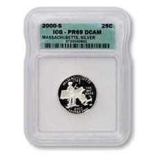 USA Massachusetts State Quarter 2000 S Silver Proof ICG PR 69 DCAM