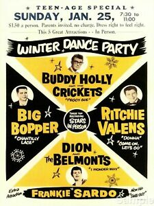 1950's Buddy Holly Big Bopper Dion Rock & Roll METAL TIN SIGN POSTER WALL PLAQUE