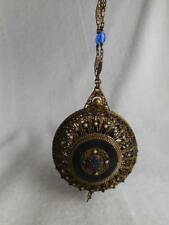ANTIQUE PIERCED GILT BRASS ORMOLU HINGED FAUX PEARL & COBALT GLASS ACCENT PURSE
