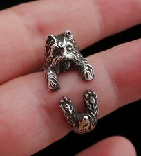 Yorkshire Terrier Ring, Dog Ring, Adjustable Ring, Sterling Silver Wrap Ring