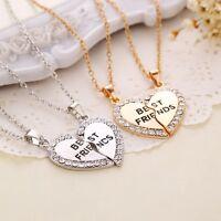 Bff Friendship Heart Gold/Silver Tone Rhinestone 2 Pendants Best Friend Necklace