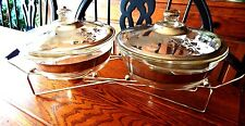 FIRE KING DOUBLE BAKING DISH SET COVERED W/STAND GEORGES BRIARD SILVER DAMASK
