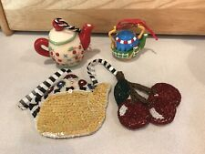 Mary Engelbreit Ornament Lot of 3 Teapot Cherries, Farm, 2 Rare Beaded Sequined
