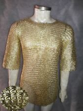 Halloween Gift Brass Chainmail Shirt 9 mm Flat riveted With Washer X LARGE Size