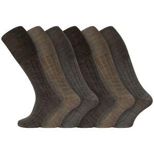 Mens 6 Pairs Soft Lambswool Extra Long Knee High Socks UK 6-11 EU 39-45 - BROWN