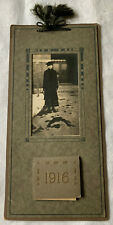 1916 Photo Calendar Young Woman Black Dress Hat Ribbon top 12 months intact old