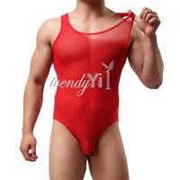 Sexy Men's Mesh Leotard Bodysuit Lingerie Underwear Thongs Undershirt One Piece