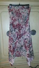 SANJOY MULTI COLORED PATTERNED ASYMMETRICAL STRAPLESS TUBE TOP DRESS SZ SMALL