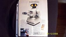 "OMNIBOT 2000 TOY ROBOT RARE AD FROM '86 ""THE STATE OF THE FUN ROBOT FROM TOMY"""