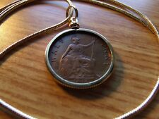 """NICE 1896 English Victoria Half Penny Pendant 26"""" Gold Filled Round Snake Chain"""