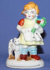 Vintage Hand Made Small Porcelain Girl & Kitten Figurine