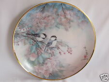 Belle assiette en porcelaine Anglaise Franklin à décor d'oiseaux