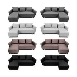 Corner Sofa Bed with Underneath Storage in Grey, Brown, Black, Brown Colour