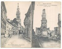 Double postcard France Albert Rue des Aises before & after shelling ruins WW1