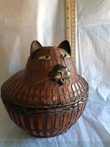 Cat Basket Woven Cat's Head and Body Never Used