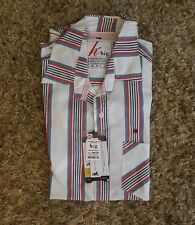 HIG Men's Casual Button-up Short-sleeve White Red Blue Shirt Size 2XL