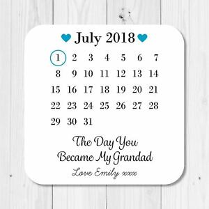 Personalised Sentimental Day You Became Grandad Coaster Birthday Gift Present