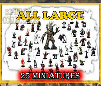 25 LARGE Miniatures PACK LOT - Dungeons & Dragons / Pathfinder, D&D Figures, RPG