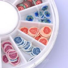 120pcs Rose Flower Blossom Mix Colour 3D Fimo Slice Cane Sticker Nail Tips Art