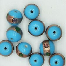 Glass Beads Light Blue Jewel Dot Opaque Round 12mm. Pack of 10. Made in India.